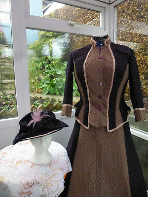 Victorian Costume In Stunning Plum Colour Size 16 With Matching Hat