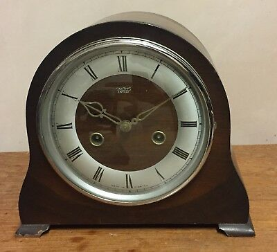 "Smiths Enfield Oak Case Striking Mantle Clock GWO 8""H 9""W 4.5""D"