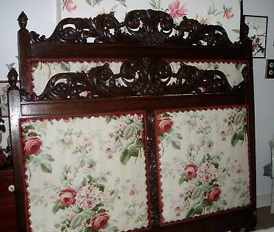 Early 19th Century Antique Carved/Ornate English Oak Double Bed, New Upholstery
