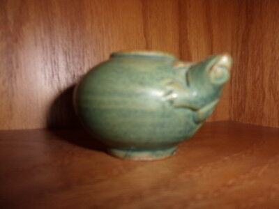 Vtg  Green Matte Art Pottery Vase W/ Frog On It Unknown Maker Arts Crafts Style
