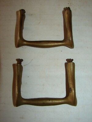2 Old Solid Brass Chest Handles Furniture Handles L@@k