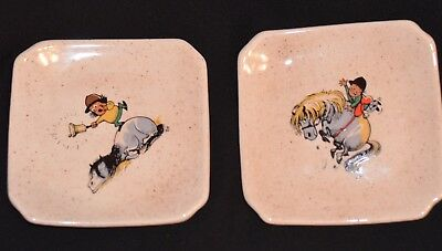 Two Vintage Thelwell Pony Square Dish, Pin Dish, Tray