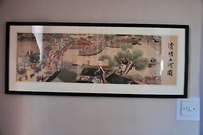 Rare Large Chinese framed embroidery hand made river scene immaculate condition