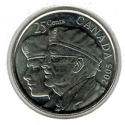 2005-P Canadian Brilliant Uncirculated Commemorative Veterans 25 Cent Coin!