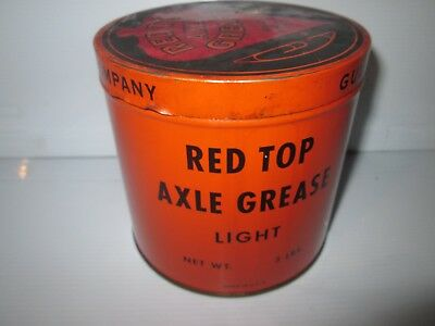 Gulf Oil Refining Co. 3 Lb. Can Red Top Axle Grease 1927