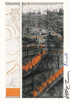 """CHRISTO (1935) /  W. VOLZ  (1948) """"THE GATES"""" orig. sign. card  / autograph"""