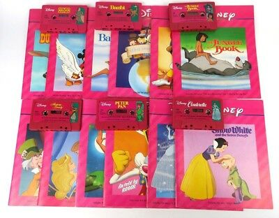 Walt Disney Read/Sing Along Books Tapes Cassettes Lot of 12 - Jungle Book, Bambi