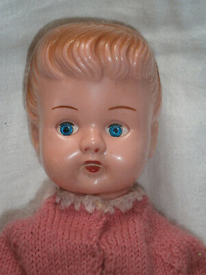 VINTAGE 1950's HARD PLASTIC MOLDED HAIR EVERGREEN  DOLL WITH TURNING HANDS