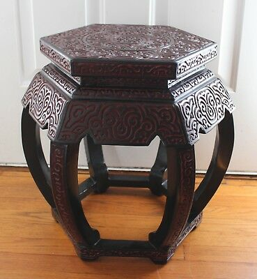 Vintage Chinese Carved Cinnabar Stool Seat Table