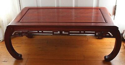 Vintage Chinese Rose Wood Inlaid Silver Picture Coffee Table