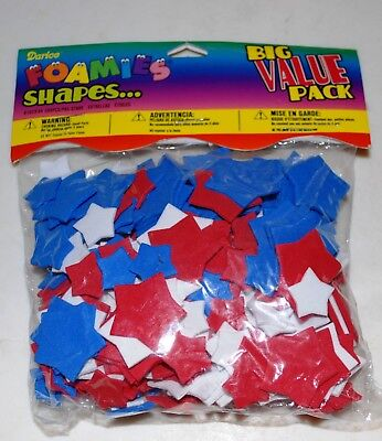 Darice Foamies Foam Shapes-Stars- Assorted Sizes - Red/White/Blue - 300pcs
