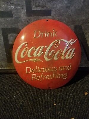 Vintage old coke button Grocery General store gas oil sign original soda metal