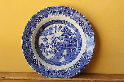 Antique , Vintage Staffordshire, W Adams Old Willow, Blue & White China Bowl.