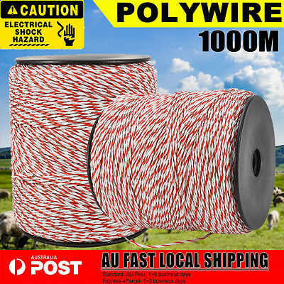 Polyrope 1000M Roll Electric Fence Energiser Stainless Poly Wire Insulator Tool