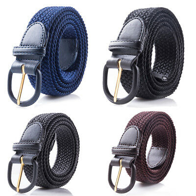 """New Men's Leather Covered Buckle Woven Elastic Stretch Belt 1-1/4"""" Wide"""