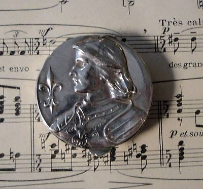 Antique French Silver Plated Pill Box Compact Rouge Joan of Arc c.1910