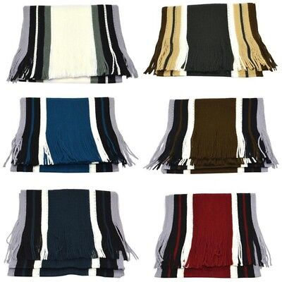 AU Mens Winter Warm Soft Thick Scarf Fringe Striped Cotton Long Scarves Shawl