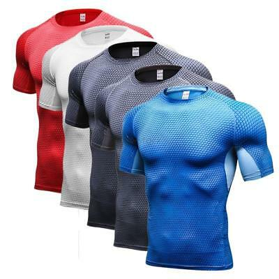 New Mens Sport Compression T-shirt Short Sleeve Athletic Tops Gym Base Layer Tee
