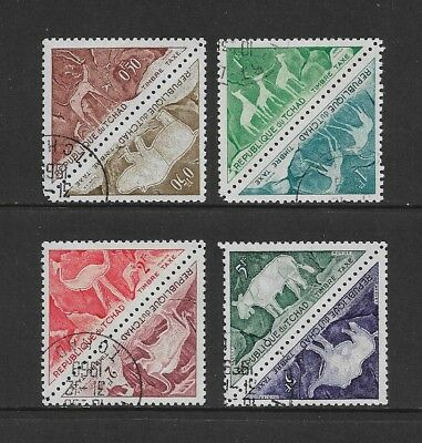 CHAD - 1962 Postage Due, Rock Paintings, Animals, joined pairs, CTO