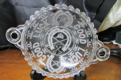 "Antique Victorian Pressed Glass ""good Luck "" Trinket Dish"