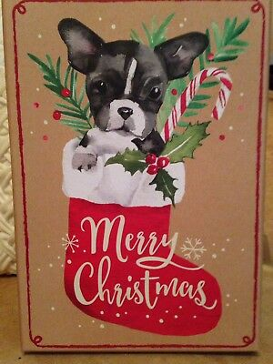 Puppy Boston Terrier gift Box HOLIDAY Christmas - or give box as a gift HTF