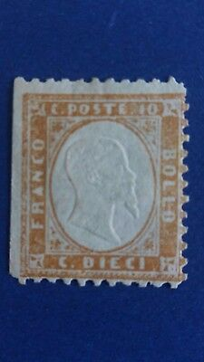 ITALY Scarce 1862 10 Cents Mint Stamp Issued no Gum? as Per Photos.CV $16.500.00