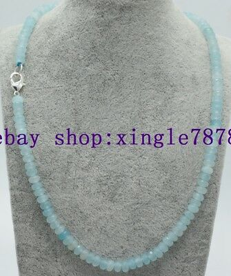 """Natural 4x6mm Light Blue Aquamarine Faceted Rondelle Gemstone Beads Necklace 20"""""""