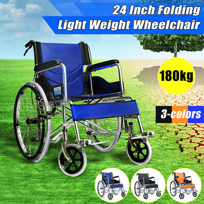 Foldable Lightweight Wheelchair Transport Mobility Aid Park 4 Brake Push Armrest