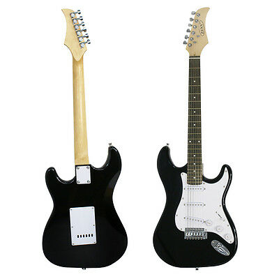 Black Full Size Electric Guitar with Amp Case & Accessories Pack Beginner New