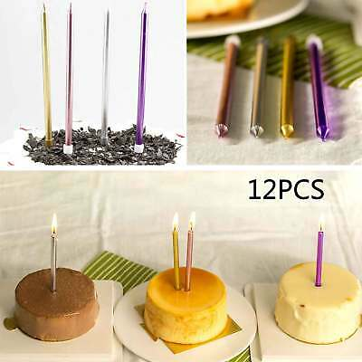 Gold /Pink/Silver/PurpleTall Birthday Cake Candles x 12