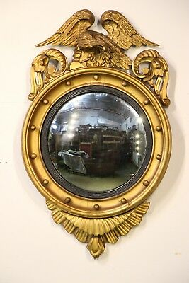 Original carved wood Regency period convex mirror eagle top English 1820 round
