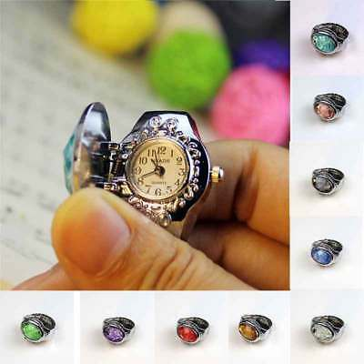 Women Men Quartz Ring Finger Watch Creative 3D Flower Steel Clamshell Elastic