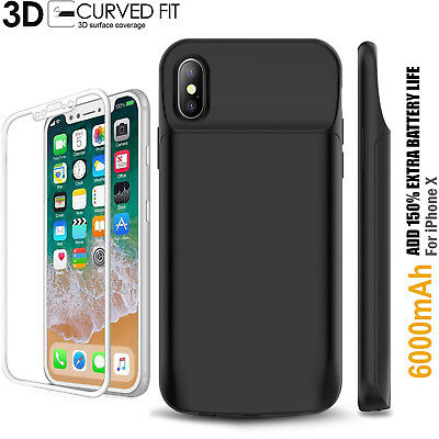 Genuine Apple iPhone X Smart Battery Charger Case Cover 3D Curved Glass Screen