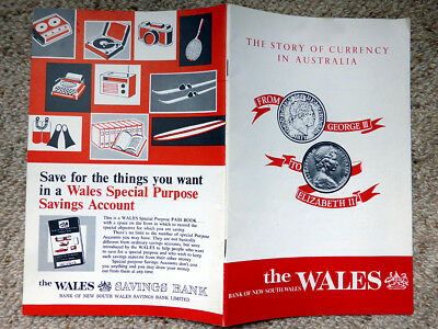 Vintage BANK of NEW SOUTH WALES booklet - THE STORY OF CURRENCY IN AUSTRALIA