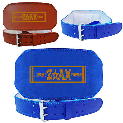 "Leather Weight Lifting Belt Gym Training Back Support Body Building 4"", 6"" WIDE"