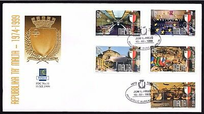 Malta 1999 25th Anniv. of Republic First Day Cover FDC SG 1156-60 Not Addressed