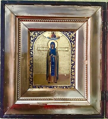 SPLENDIDA antica icona russa Santa Evdokia in kiot Russian icon ORIGINAL