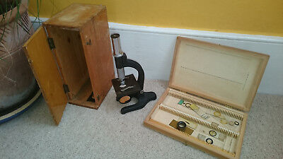 Microscope - age unknown, with box and slide box - theatre/shop/museum display?