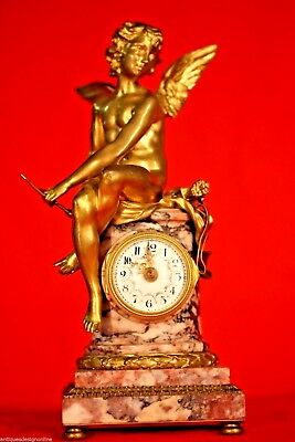 French Louis antique gilt bronze CUPID CLOCK gilded ormolu statue marble 1870