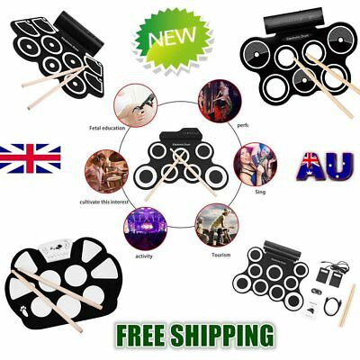Roll up Portable 9 Pad USB 9 Pad Musical Instrument Electronic Drum Kit Kids W#