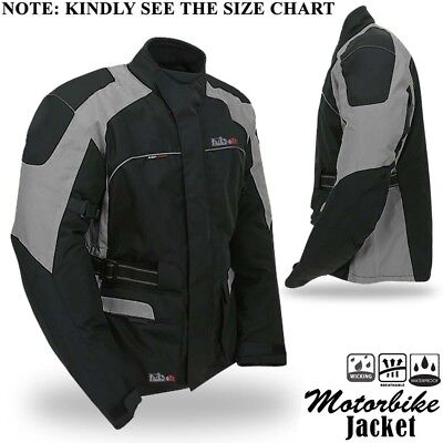Mens Motorbike Motorcycle Jacket Textile Waterproof Breathable With Armours Grey