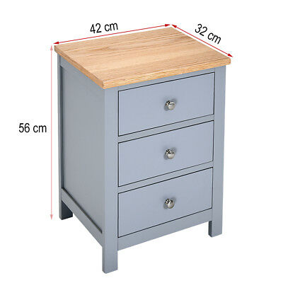 Bedside Table Solid Oak Unit Wooden Cabinet Nightstand with 3 Drawers Cupboard