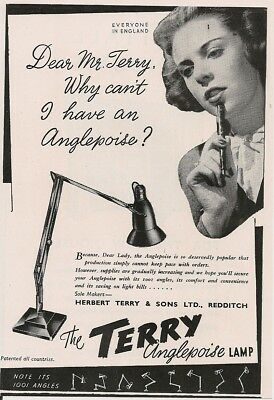 Herbert Terry Redditch Anglepoise Lamp Can't Have Postwar 1946 Vintage Advert