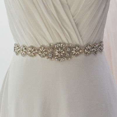 Vintage Crystal Pearls Applique Sash Bridal Dress Sash Belt Wedding Accessories