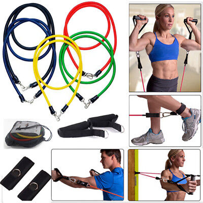 11tlg Expander-Set Fitnessband Gymnastik Latex Band Kraft Trainings Seile Tube