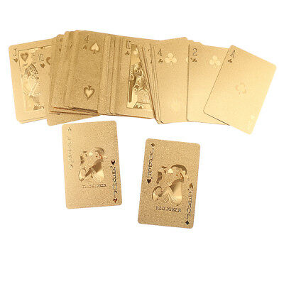 54Pc Deck Poker Waterproof Plastic PVC Set Playing Cards Cool Gold Xmas Gift