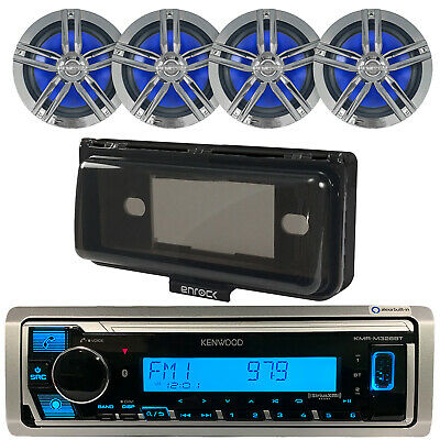 "Kenwood Bluetooth CD/AM/FM/Digital Receiver,4x Enrock 6.5"" Marine Speakers,Cover"