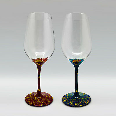 "urushi pair glass - Mt.Fuji (red+blue)- ""Hidehira nuri"" wine- Champagne glasses"