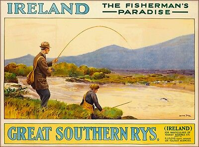 Ireland The Fisherman's Paradise Great Britain Vintage Travel Art Poster Print