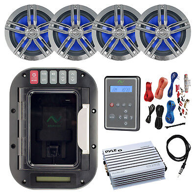 "USB Bluetooth Stereo Device Locker, Remote, 4x 6.5"" Speakers, Amp w/ Kit,Antenna"